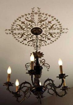 Elegant Light Fixture Decor - Classic Paint Stencils with European Design - Wall and Ceiling Medallion Stencils - Royal Design Studio