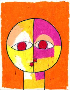 Art Projects for Kids: artist Paul Klee  Senecio  Trace a round shape (dish) for the head in the middle of the paper. Add a neck & mouth using only straight lines. Draw 2 eyes that touch each other in the middle.Trace with a Sharpie & color all with oil pastels.
