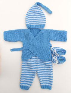 #bébé #layette #tricot #laine #garçon #bonnet #chaussons #cache-cœur #barboteuse #rayure #ciel #lutin #brassière #gilet #fait-main #made in France