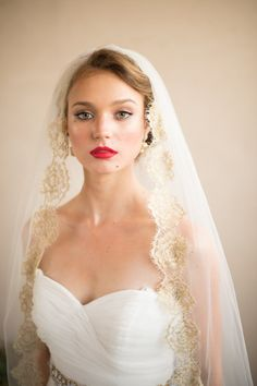 GOLD VEIL- Hair Accessories Wedding Veil- French Chantilly ISABELLA Gold Lace Bridal Veil from Camilla Christine on Etsy, $528.00