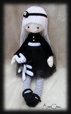 Anise emo goth cloth doll with skull and zombie bunny by AresCrea