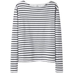 Wood Wood Adrien Striped Top ($100) ❤ liked on Polyvore featuring tops, shirts, sweaters, long sleeves, striped shirt, boat neck tops, long sleeve cotton shirt, white long sleeve top and white shirt