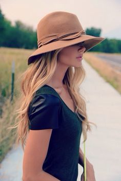 women's Street style fashion: zara tee with leather look sleeves, felt wide brimmed hat