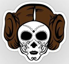 Star Wars Princess Leia Sugar Skull Vinyl Sticker
