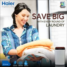 With 3-Synchronous system ensure 50% #saving on #Power, Water & Time with Double Drive #Technology!!  #Haier #WashingMachine #InspiredLiving #LifeStyle