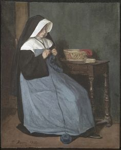 """A Nun Seated at a Table Knitting"" by François Bonvin (1862) at the Cleveland Museum of Art, Cleveland - From the curators' comments: ""François Bonvin was a prolific watercolorist, and he developed a lifelong interest in modest religious subjects showing scenes of everyday life. This delightfully simple image of a nun knitting reveals the artist's appreciation for 17th-century Dutch artists such as Johannes Vermeer (1632-1675), whose work he copied."""