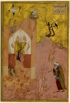 Nushirvan and the two owls; painting, detached page from an illustrated manuscript. 16 thC