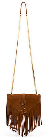 $2,150, Brown Fringe Suede Crossbody Bag: Saint Laurent Monogramme Small Suede Fringe Crossbody Bag. Sold by Saks Fifth Avenue. Click for more info: https://lookastic.com/women/shop_items/188432/redirect
