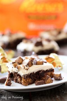 Reeses Brownies with Peanut Butter Buttercream