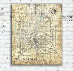 Indianapolis Indiana Vintage map Vintage Antique map Indiana wall Art Work Print City poster USA Vintage retro old map United States America
