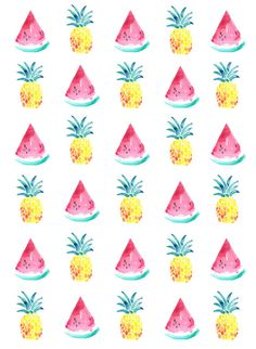 watermelon and pineapple A5 print