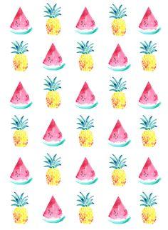SALE 50% OFF watermelon and pineapple A5 print by seaandjay