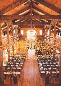 Barn wedding. Stunning! Rearrange for an awesome reception dance floor later! Would be cool with lights.