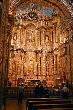 Andean Artists in Colonial Quito: Master sculptors Francisco Tipán and Jorge Vinterer. Main altar, Church of La Compañía, 1694—1695 and 1735, Quito, Ecuador.