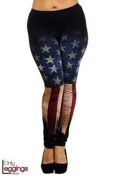 Plus Size American Flag Leggings