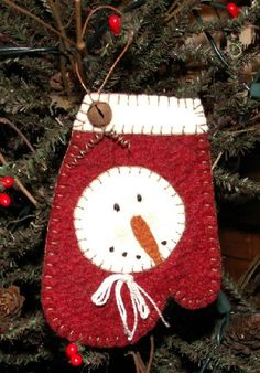 snowman mitten no tutorial but so cute and easy