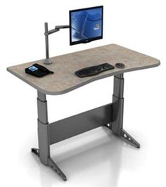 """Single-Surface Adjustable Workstation features a large surface for keyboard, mouse, and other equipment. With the push of a button the work surface electronically adjusts to provide desk heights from 26"""" to 46"""" or 23"""" to 51"""" in infinite increments. Provides easy access to the most comfortable and productive table settings for you. #ergonomic #workstations"""