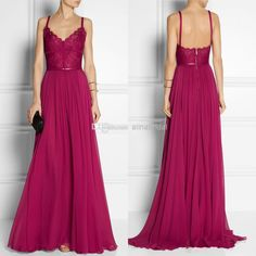 Wholesale Evening Dresses - Buy 2014 Lace Evening Dress V Neck with Straps A Line Long Sweep Train Chiffon Sexy Backless Sash Maxi Party Gowns Modest Formal Gowns E305, $101.16 | DHgate