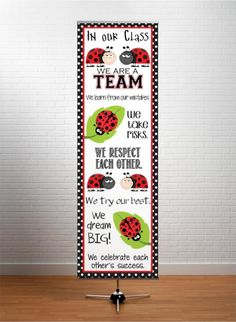 LADY BUG Theme Classroom Decor / Character Education Banner / In Our Class ... We Are A Team / JPEG / ARTrageous FUN / X-LARGE banner / Vistaprint.com