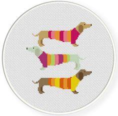 Fancy Dachshunds Cross Stitch Pattern