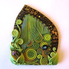 Fairy Door in Green Swirl Miniature Pixie Portal Home by Claybykim