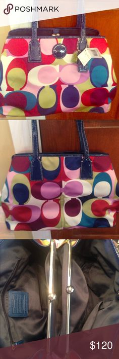 Brand New Multicolor Coach Purse!! Brand new with original tags! Has a separate compartment in the inside that is great for personal things! Navy blue interior and very spacious! Coach Bags Shoulder Bags
