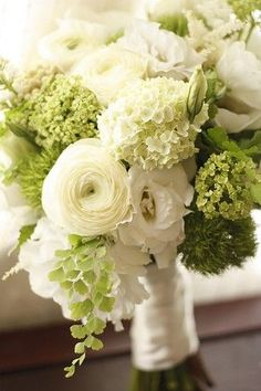 classic green and white bouquet withranunculus and snowball viburnum