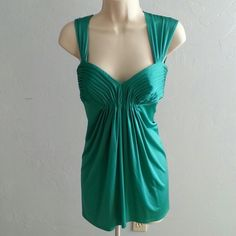 🔥HOST PICK 🔥 Blue Green Turquoise Top Originally a dress but had it professionally hemmed to a top to make it more flattering.   One tiny stain and snag. BCBGMaxAzria Tops