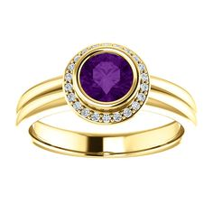 14kt Yellow Gold 5.5mm Center Round Amethyst and 22 Accent Genuine Diamonds Ring