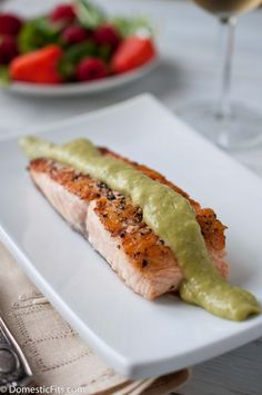 Chilean Salmon with Avocado Cream Sauce 1 large avocado (about 2/3 cup) 2 tbs lemon juice 1 tbs chopped shallots 1/3 cup coconut water pinch cayenne pinch chili powder pinch smoked paprika ¼ tsp cumin 2 tsp white wine vinegar 1 tbs olive oil 1 tbs chopped chives