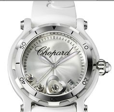 Chopard- Happy Sport style. I am in love with all of Chopard watches, then again, who wouldn't be in love with watches that go for (at the very least) 3k! Most of their watches have diamonds on the face. This one is simple and elegant.