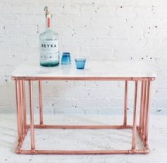 Copper and marble table