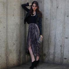 Print Maxi Skirt + Black Tank Top + leather jacket
