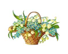 Flower basket | May basket Clip Art: Vintage Victorian Die Cut of Basket Full of Flowers