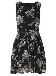 **Mela Black Flower Dress
