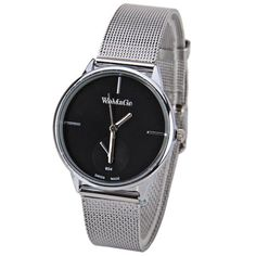 WoMaGe Quartz Watch with Strips Indicate Steel Watch Band for Women - Black #CLICK! #clothing, #shoes, #jewelry, #women, #men, #hats, #watches