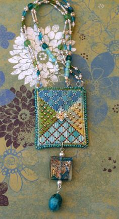 Needlepoint And Beaded Pendant Necklace NN118 by lesjardinsdevie, $135.00
