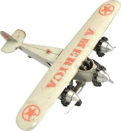 September 6-7 2013 Auction: Cast Iron Hubley America Airplane Toy. #MorphyAuctions