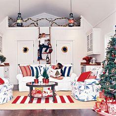 Nautical Living Room & Christmas tree