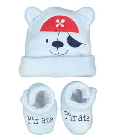 068e5f51d5bd4 Look at this Sweet   Soft Blue Bear Baby Beanie   Booties Set - Infant on  today!