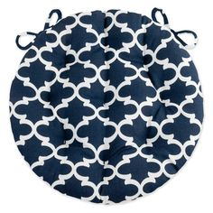 Fulton Navy Blue Bistro Chair Pad - Round Cushion with Ties - Indoor / Outdoor Home Decor Online, Home Decor Items, Round Chair Cushions, Quatrefoil Pattern, Free Fabric Swatches, Bistro Chairs, Dark Blue Background, Fabric Suppliers, Bistro Set