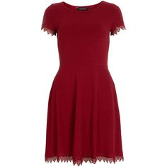 Dorothy Perkins Red Lace Trim Dress ($22) ❤ liked on Polyvore featuring dresses, red, cotton jersey dress, dorothy perkins dress, dorothy perkins, short-sleeve dresses and short sleeve cotton dress