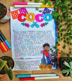 Este es un apunte sobre la película Coco de Disney Pixar 💫❤️ #coco #disney #apuntes #apuntesbonitos #ideas Bullet Journal Titles, Bullet Journal Lettering Ideas, Bullet Journal Aesthetic, Bullet Journal School, My Journal, Disney Up, Coco Disney, Disney Pixar, Disney Canvas