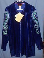 Bob Mackie Wearable Art Cobalt Blue Velvet Zip Front Jacket Paisley Sleev 1X NWT