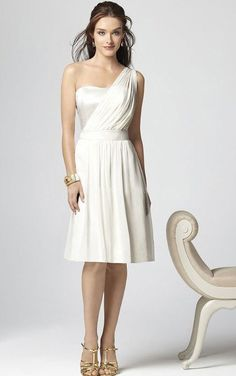 Sleeveless One Shoulder Chiffon Knee-length A-line Bridesmaid Dresses