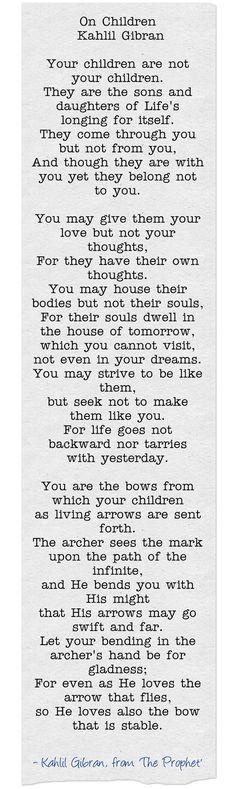 On Children by Kahlil Gibran, The Prophet