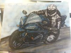 Airbrushed sports bike on canvas by bex airbrushing