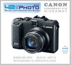 Enter to win a Canon Camera (Powershot G15) $499.99 Value #Giveaway! http://momalwaysfindsout.com/2013/08/canon-camera-giveaway/