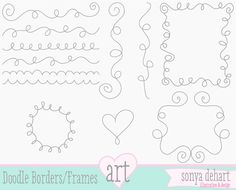 INSTANT DOWNLOAD Clip Art Doodle Swirl Flourish Frames Flourishes Flourish Border Royalty Free Commercial Use Label. $5.00, via Etsy.