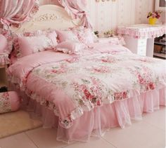 Amazon.com - FADFAY Home Textile, Romantic Rose Print Bedding Sets, Blue Pink Bedding Sets, Princess Lace Ruffle Bedding Set, Twin/Full/Queen/King Bedroom Set, 4Pcs Bed Set (Pink, 4ft bed) - Bedroom Furniture Sets